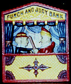 Cast iron money box on Punch and Judy on the Web: The authoritive site devoted to the most famous puppet in the English speaking world. Here is the history, the theory and the magic. Here are the pictures and the practicalities. Information for puppeteers, collectors and historians.